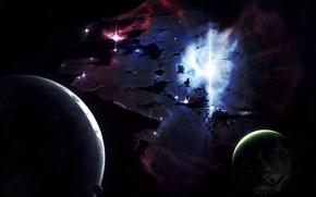 Обои импульс, планеты, туманность