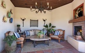 Картинка дизайн, фото, диван, интерьер, кресло, люстра, камин, гостиная