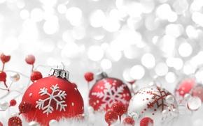 Картинка свет, украшения, снежинки, красный, шары, серебристый, Новый год, light, silver, red, new year, balls, боке, …