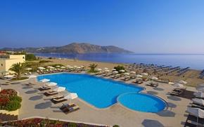 Картинка море, пляж, бассейн, Греция, Крит