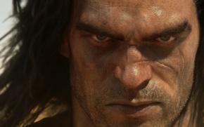Картинка взгляд, волосы, мужчина, щетина, шрам, Funcom, Conan Exiles