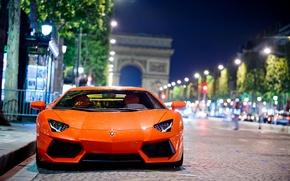 Картинка дорога, ночь, город, Париж, Lamborghini, Ламборджини, Ламборгини, боке, LP700-4, Aventador, Авентадор