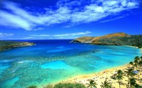Обои море, небо, плаж, горы