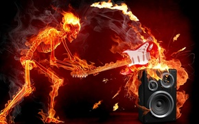 Картинка fire, rock, skeleton, music. guitar