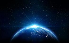Обои небо, солнце, космос, звезды, земля, earth, space