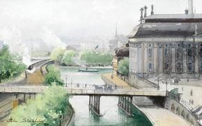 Картинка мост, город, река, улица, здание, железная дорога, стокгольм, ann palm