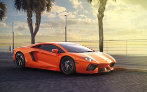 Картинка Lamborghini, Orange, LP700-4, Aventador, Summer, Supercar, Palms, Ligth