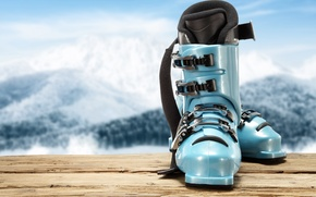 Картинка blue, mountains, ski boots