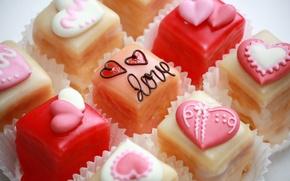 Картинка еда, конфеты, сердечки, сладости, десерт, глазурь