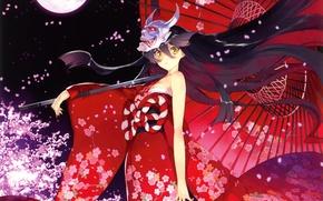 Картинка девушка, цветы, ночь, луна, зонт, аниме, лепестки, сакура, маска, арт, кимоно, дьяволица, ueda ryou, демон …