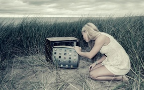 Картинка девушка, монитор, экран, Device