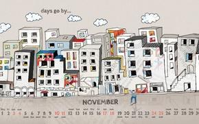 Картинка город, рисунок, человек, дома, 2012, календарь, числа, ноябрь, november
