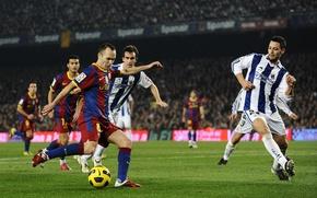 Обои поле, обои, футбол, спорт, игра, wallpaper, Испания, стадион, ноу камп, Барселона, игрок, матч, Barcelona, Camp ...