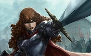Обои оружие, взгляд, девушка, меч, арт, доспехи, фэнтази