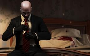 Картинка пистолет, кровь, Костюм, Перчатки, Кровать, труп, Нога, Кровавые деньги, Hitman: Blood Money, Галстук