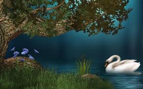 Картинка белый, трава, вода, цветы, озеро, дерево, берег, камыш, лебедь, white, grass, water, flowers, lake, tree, …