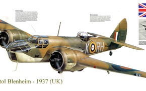 Картинка войны, бомбардировщик, 1937, скоростной, лёгкий, периода, Bristol Blenheim, Второй мировой