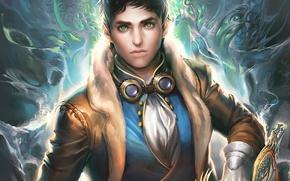 Картинка оружие, магия, дракон, меч, арт, очки, парень, рукоять, sakimichan, смотрит на зрителя