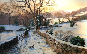 Обои животные, картина, арт, зима, кролики, зайцы, рисунок, заборы снег, рисунки, картины