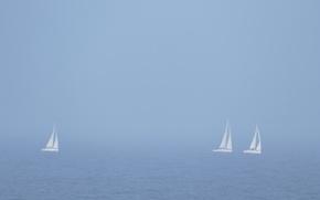 Обои море, туман, парусники