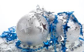 Картинка звезды, шары, Новый год, елочные украшения