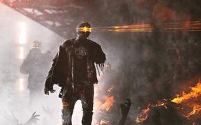 Обои смерть, киборг, разрушение, zombots, art, фантастика, робот, огонь