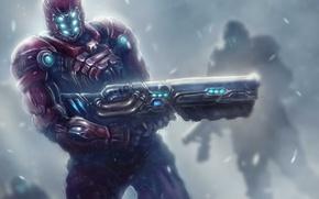 Картинка снег, оружие, войны, арт, броня, патруль