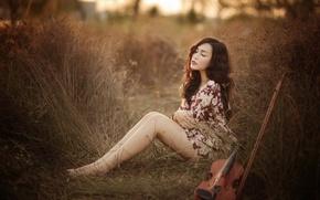Картинка лето, девушка, скрипка, музыка, азиатка