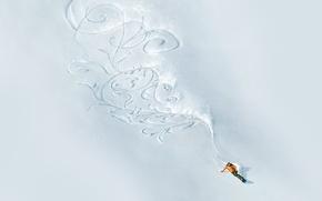 Картинка снег, горы, узор, сноуборд