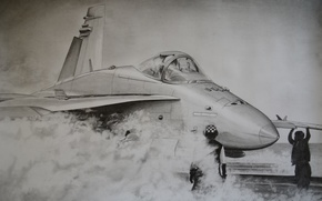 Картинка рисунок, карандаш, Hornet, FA-18