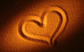 Обои сердечко, настроения, сердце, любовь, пляж, песок
