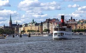 Картинка море, корабль, дома, пароход, Стокгольм, Швеция