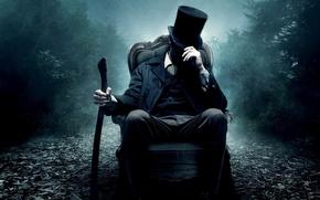 Обои Abraham Lincoln, цилиндр, кресло, Vampire Hunter, топор