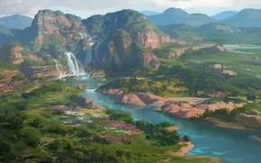 Картинка холмы, водопад, арт, нарисованный пейзаж