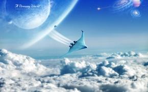 Обои Dreamy World, шатл, полёт, облака