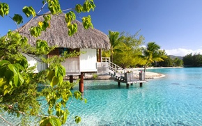 Картинка ocean, bungalow, lagoon, bora-bora, water villa, clear aqua