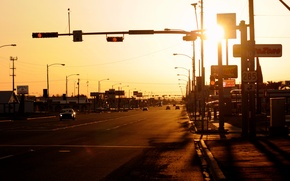 Картинка дорога, закат, вечер, америка, городок, usa