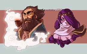 Картинка дым, трубка, арт, Dota 2, взгляды, Lanaya, Templar Assassin, Kunkka, Admiral, mortinfamiART