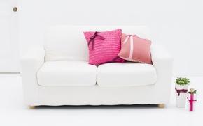 Обои белый, цветы, дизайн, стиль, комната, розовый, интерьер, растения, подушки, квартира, бантик