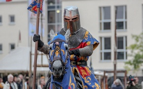 Картинка металл, лошадь, доспехи, воин, рыцарь