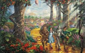 Картинка радуга, Walt Disney, Thomas Kinkade STUDIOS, дорога, Тото, Трусливый Лев, Страшила, Железный Дровосек, злая ведьма, ...