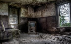 Картинка кресло, телевизор, окно
