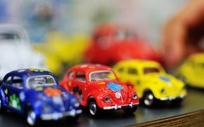 Картинка машины, синий, желтый, красный, автомобили, машинки