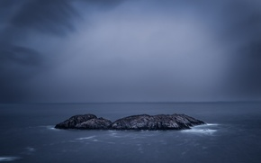 Картинка море, серые облака, буря, горизонт, облака, островок