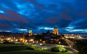 Обои ночь, город, огни, парк, дома, Канада, фонари, лавочки, Quebec
