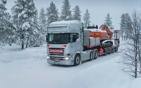 Картинка зима, снег, прицеп, тягач, Scania, Topline, Streamline, R580