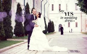 Картинка любовь, пара, церковь, невеста, свадьба, жених