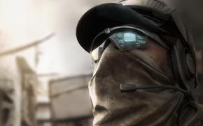 Картинка наушники, очки, солдат, кепка, голограмма, отряд призрак, Ghost Recon: Future Soldier, Tom Clancy's