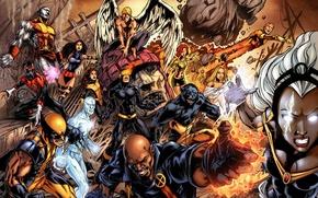 Обои wolverine, marvel, комикс, angel, супер герои, comics, x men, jean grey, Nightcrawler, colossus, shtorm, cyclops, ...