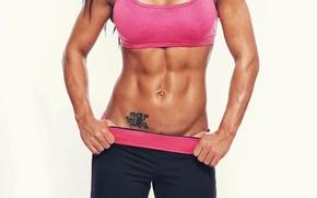 Обои fitness, abs, model, tattoos